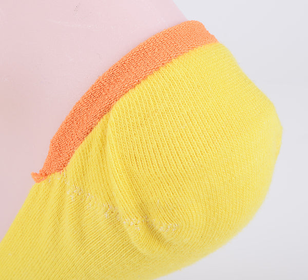 2 Pairs Finest Combed Cotton Invisible Socks Number Yellow