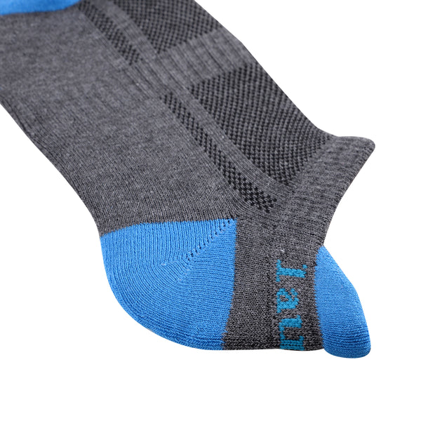Laulax 1 pair Ladies Professional Coolmax Running Socks, Achilles Tendon Protection, Size UK 3 - 8 / Europe 36 - 42, Grey with Blue Toe