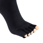 Laulax 2 Pairs Ladies High Quality Professional Anti Slip Half Toe Yoga Socks, Black, Size UK 3 - 8 / Europe 36 - 41