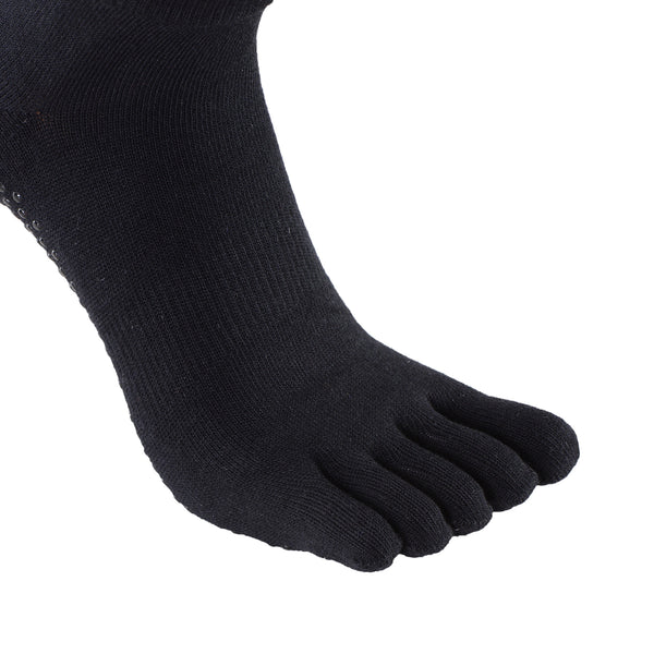 Laulax 2 Pairs Mens High Quality Professional Anti Slip Five Toes Yoga Socks, Black, Size UK 7 - 11 / Europe 41 - 46