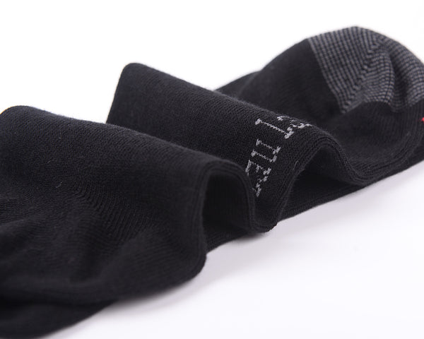 6 Pairs Unbreakable Toe Finest Combed Cotton Black Socks, Gift Box