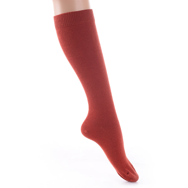 Finest Combed Cotton Knee High Socks - Plain Red