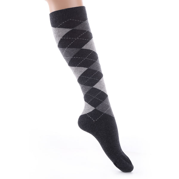 Finest Combed Cotton Knee High Socks - Diamond Black