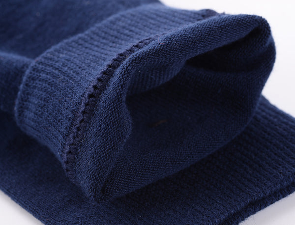 Finest Combed Cotton Knee High Socks - Plain Navy