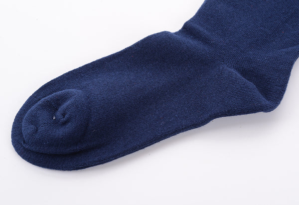 Finest Combed Cotton Thigh High Socks - Navy