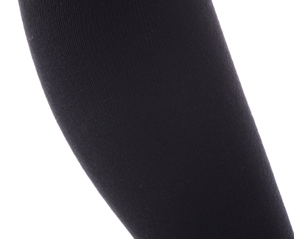 Finest Combed Cotton Thigh High Socks - Black