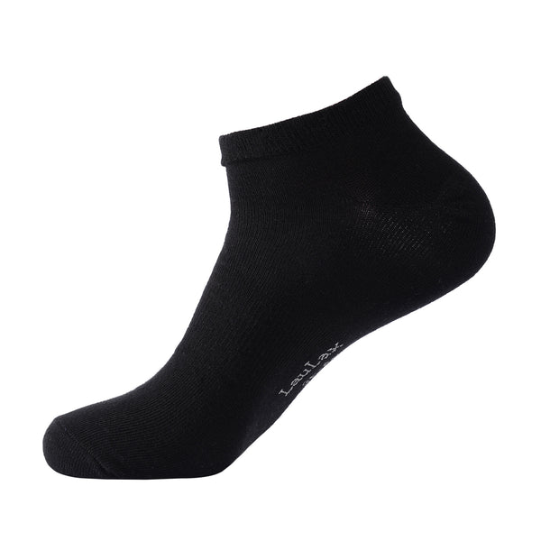 Laulax 6 Pairs Finest Combed Cotton Arch Support Trainer Socks, Black, Size UK 12 - 14 / Europ 47 - 49