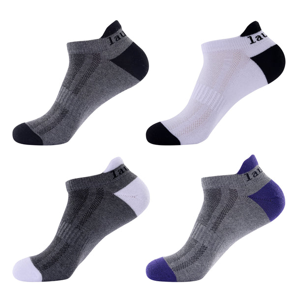 Laulax 4 pairs Mens Professional Coolmax Running Socks, Achilles Tendo