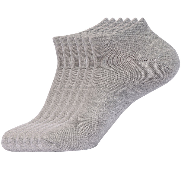 Laulax 6 Pairs Finest Combed Cotton Arch Support Trainer Socks, Grey, Size UK 12 - 14 / Europ 47 - 49