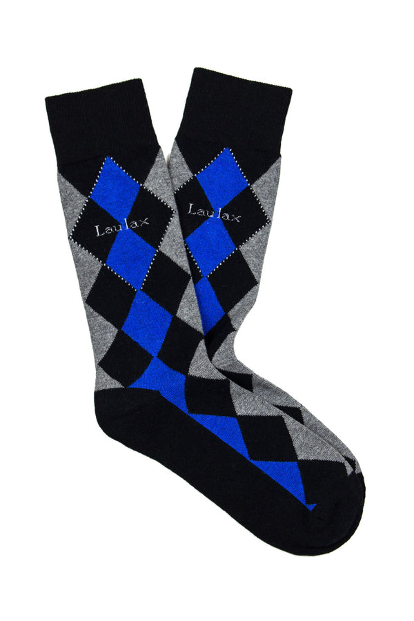 Finest Combed Cotton Formal Socks Diamond Blue