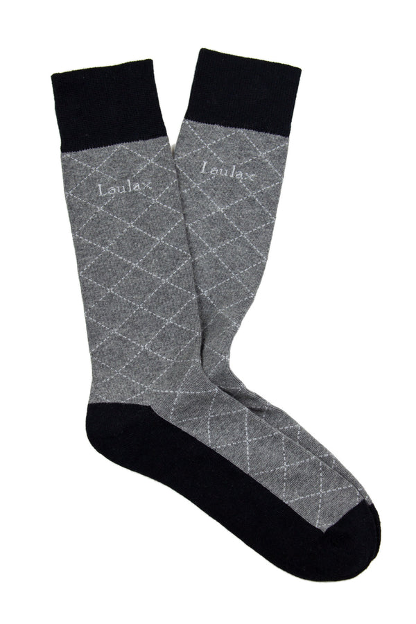 Finest Combed Cotton Formal Socks Diamond Grey