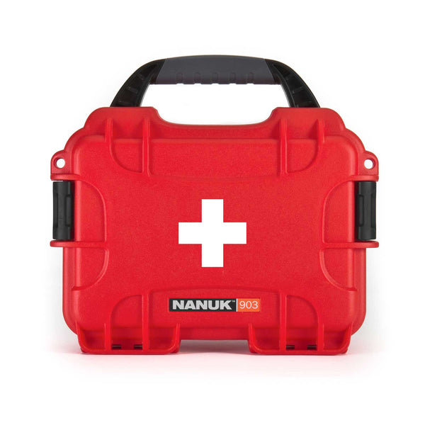 Perfect to organize, protect and carry first aid supplies and equipment, the NANUK 903 waterproof hard case is impenetrable and indestructible with a lightweight tough resin shell and double side-mounted PowerClaw superior latching system.