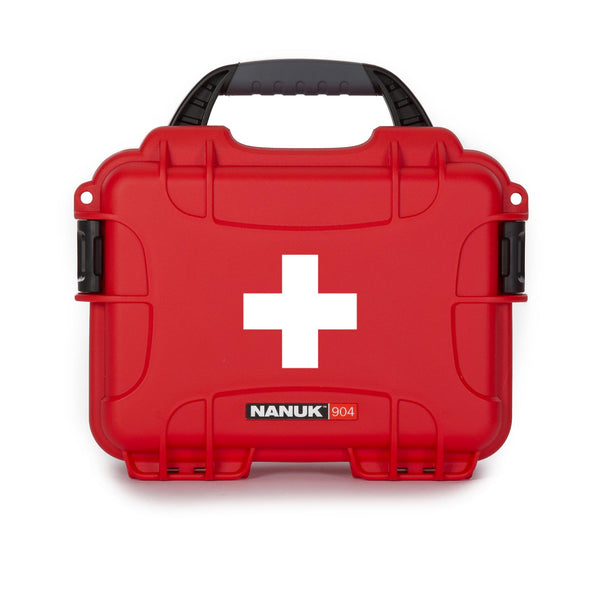 Perfect to organize, protect and carry first aid supplies and equipment, the NANUK 904 waterproof hard case is impenetrable and indestructible with a lightweight tough resin shell and double side-mounted PowerClaw superior latching system.