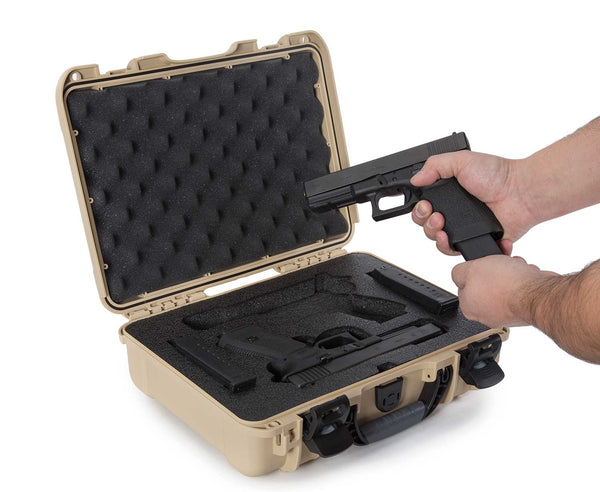 The NANUK 909 Glock® 2 Up Pistol case provides secure storage for many popular handgun models along with space for two (2) single stack magazines or two (2) double stack magazines.