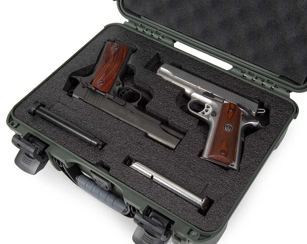 Lightweight, rugged and compact, the NANUK 910 Classic 2 Up Pistol hard case adapts to every environment and is favored by outdoor enthusiasts, sportsmen and sportswomen, law enforcement officers, military, hunters and shooting sports enthusiasts to protect their most valuable handguns.