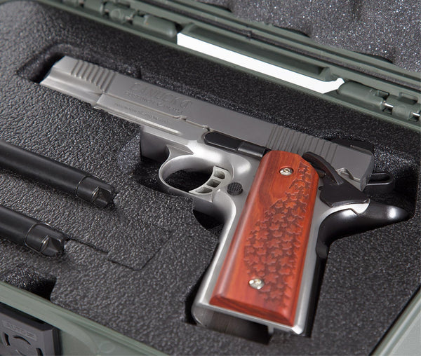 The case will also accommodate a pistol with a trigger lock as well as models with a beavertail design.