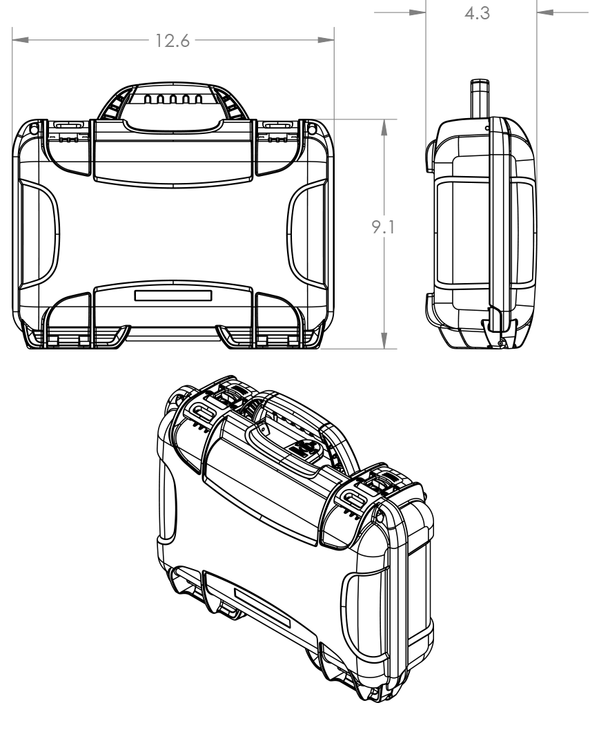 Dimensions of the Nanuk 909 Glock Case Hard Case