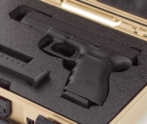 The case will also accommodate a pistol with a trigger lock as well as models with a beavertail design. The case can be locked using the two integrated and reinforced eyelets allowing you to store, secure, and transport your pistol with confidence.