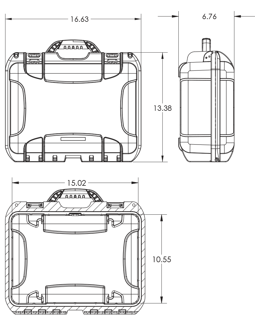 Dimensions of the NANUK 920 PRO PHOTO KIT Hard Case