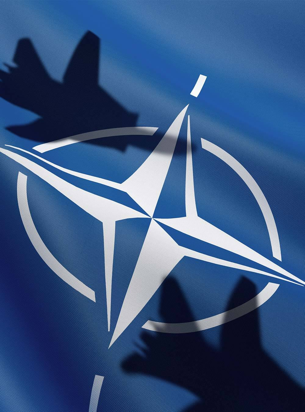 NATO Flag with Fighter Shadows