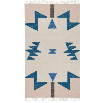 Tapis Kelim Blue Triangles-Tapis-Ferm Living-mombini.shop