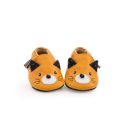 Chaussons en cuir-Chaussons-Moulin Roty-chat jaune moutarde-0-6 mois-mombini.shop