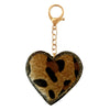 DST Heart Fur Bag Charm Leopard