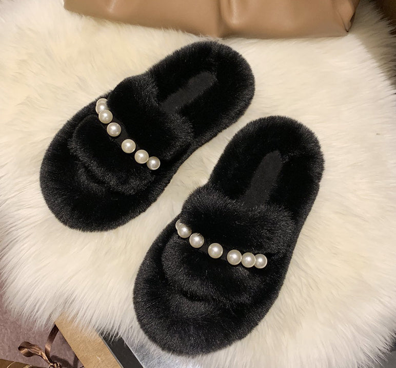 Fluffy Pearls Slippers