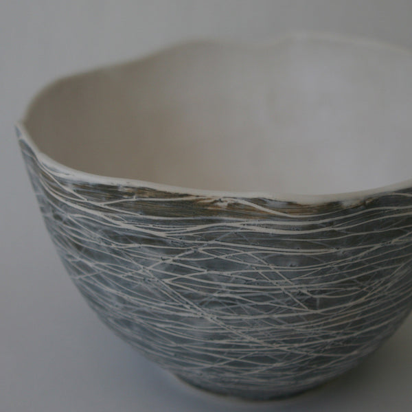 Contemporary handmade porcelain serving bowl by ecoartist Nancy Martini