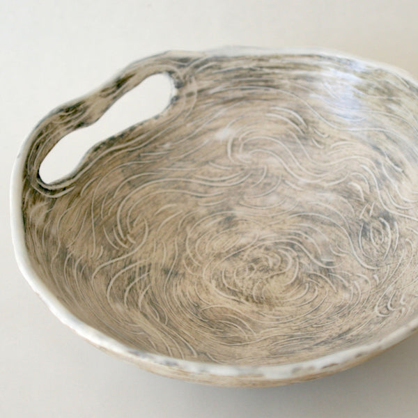 Small serving bowl white satin glaze by eco artist Nancy Martini from The Green Hand Co.