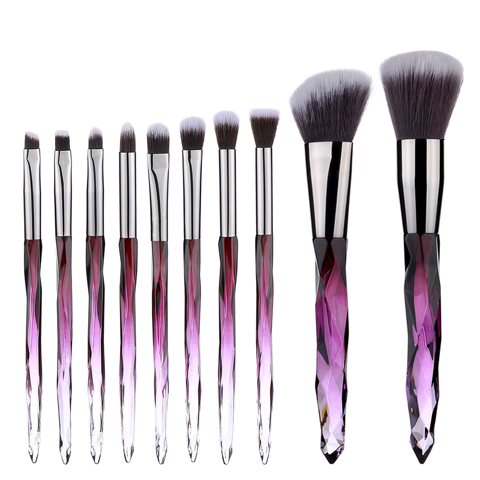 Crystal Makeup Brush Foundation 10 Pcs Set