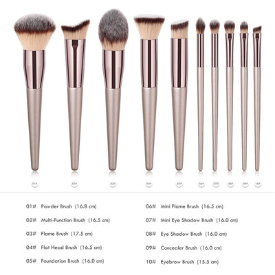 Kabuki Makeup Brush Foundation 10 Pcs Set
