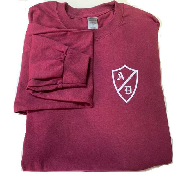 AD Long Sleeve T Shirt in Burgundy