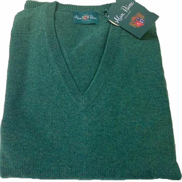 Alan Paine Hampshire V Neck Sweater Courgette