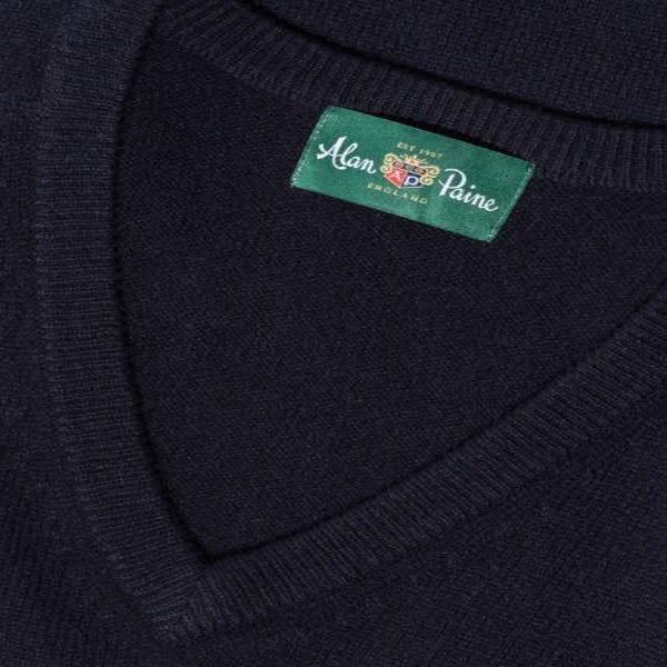 Alan Paine Hampshire V Neck Sweater Navy