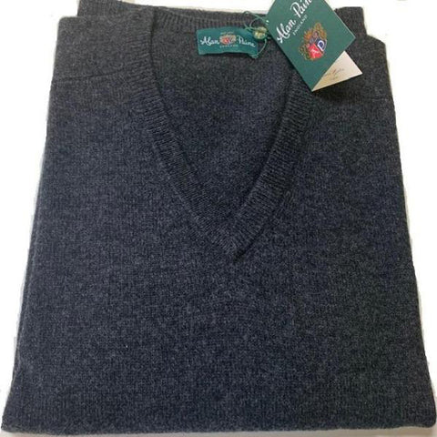Alan Paine Hampshire V Neck Sweater Charcoal