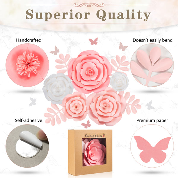 Rainbows & Lilies 3D Paper Flowers Decorations for Wall