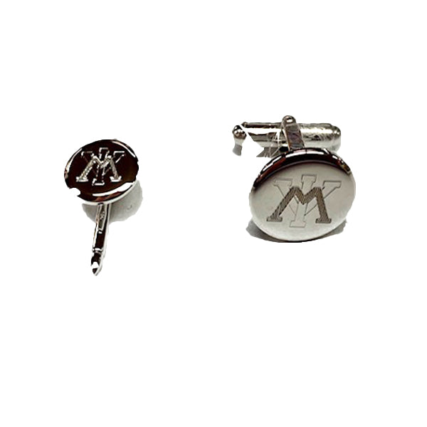 VMI Sterling Silver Cuff Link and Stud Set