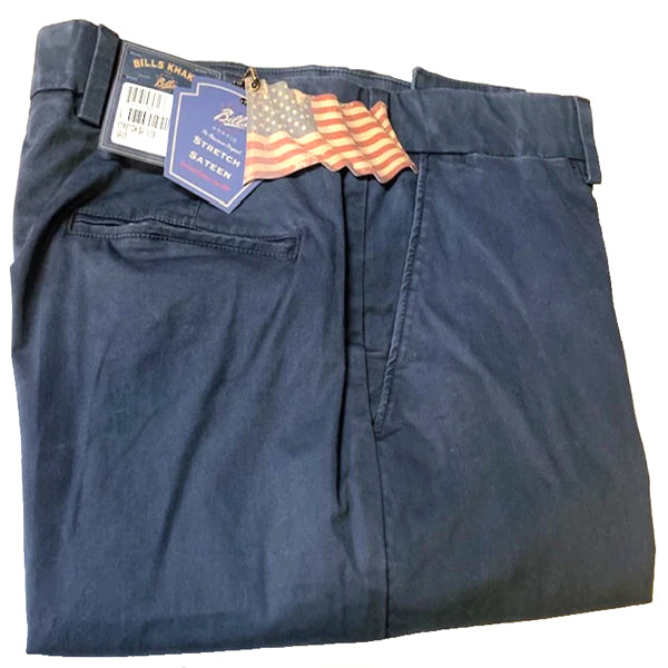 Stretch Sateen Navy Pants