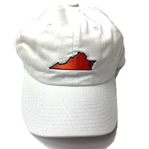 White Virginia Hat Navy Trim
