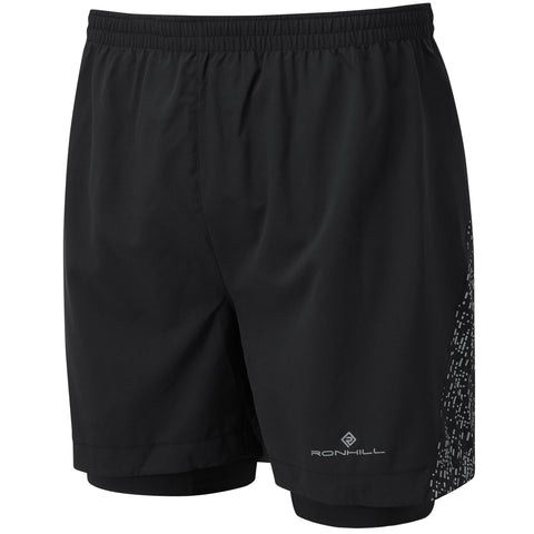 "Ronhill Life Nightrunner 5"" Twin Short  Men's Black Reflect"