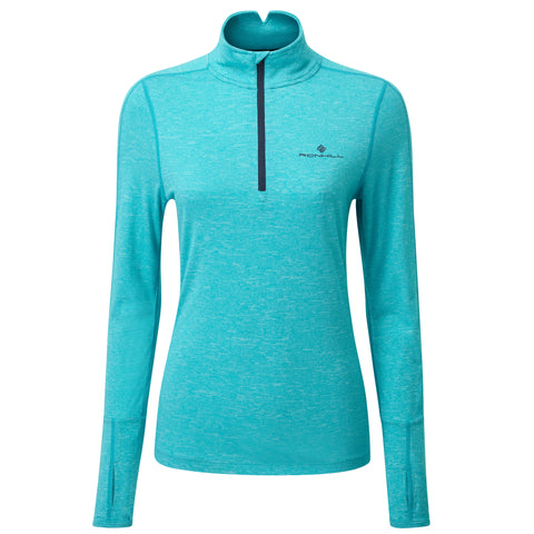 RONHILL WOMEN'S  TECH THERMAL LS HALF ZIP TEE  SPA GREEN