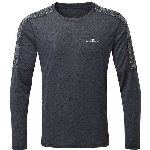 RONHILL MEN'S LIFE NIGHT RUNNER LS TEE CHARCOAL REFLECT