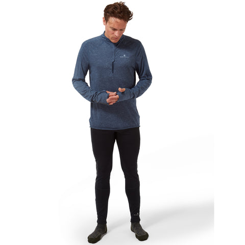 Ronhill Tech Thermal Half Zip Long Sleeve Tee Men's Deep Navy Marl Atlantic
