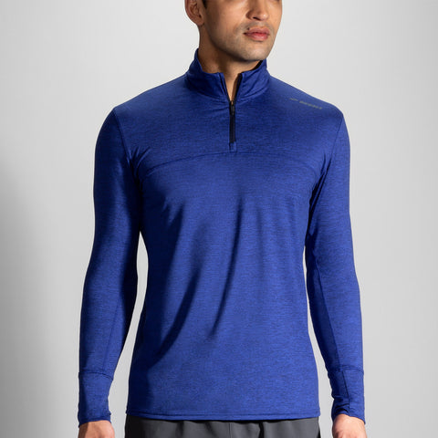 BROOKS DASH HALF ZIP MEN'S HEATHER COBALT-NAVY