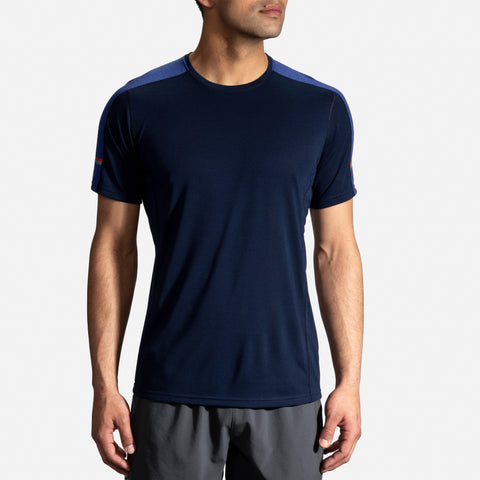 BROOKS DISTANCE SHORT SLEEVE TEE MEN'S  NAVY - COBALT
