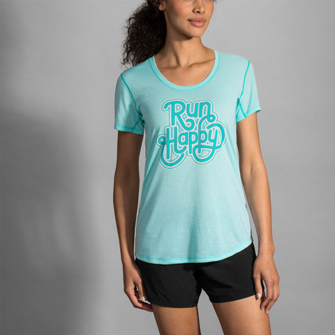 Brooks Distance Graphic Tee Heather Ice