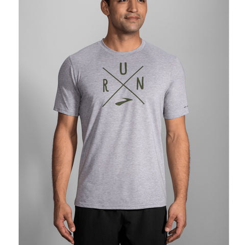 Brooks Distance Graphic Tee Men's Heather Sterling Olive