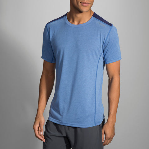 Brooks Distance Short Sleeve Heather Bay Navy Men's