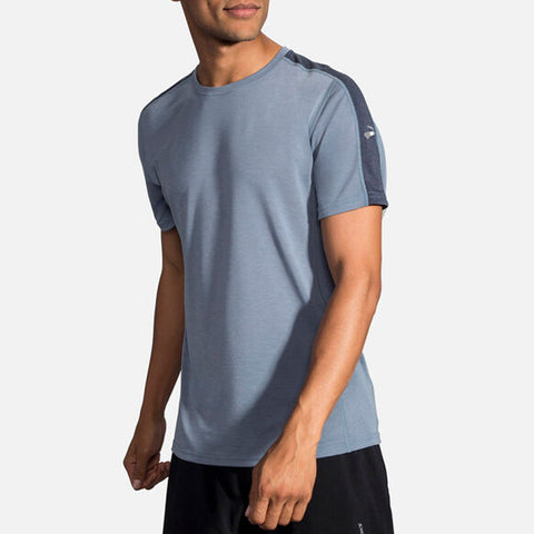 BROOKS DISTANCE SHORT SLEEVE MEN'S HEATHER TIDE